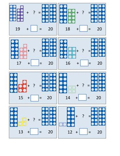 printable numicon number cards numicon number bonds 20 pdf math pinterest number