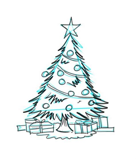 christmas tree drawing how to draw a christmas tree