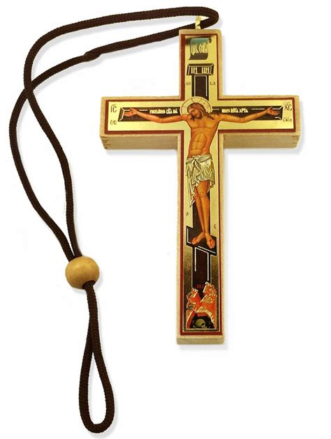 Decoupage Cross - small decoupage wooden cross on rope at holy store