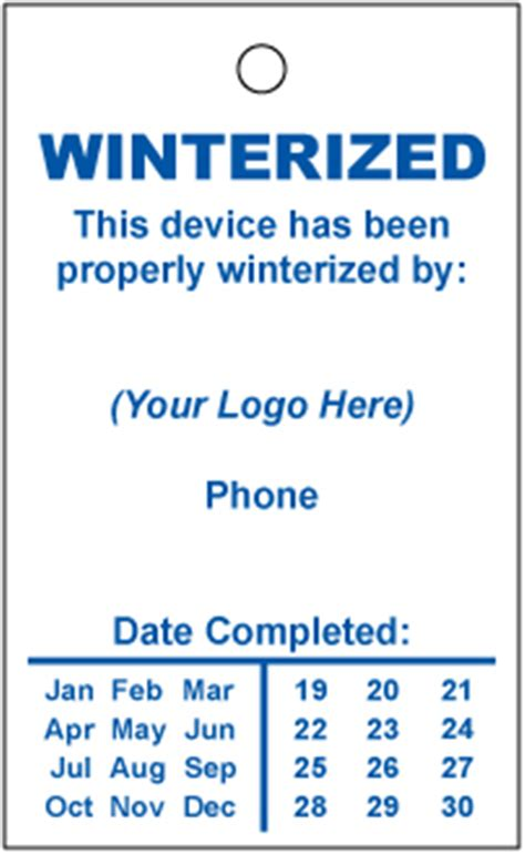 Winterization Stickers