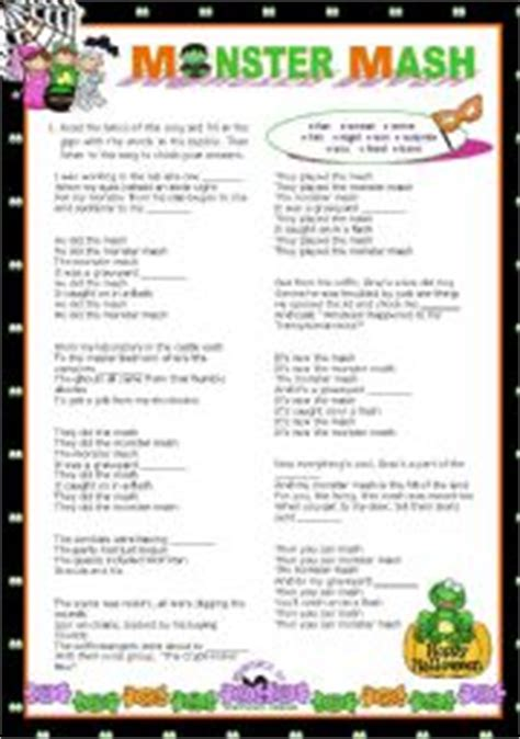 printable lyrics monster mash english teaching worksheets other songs