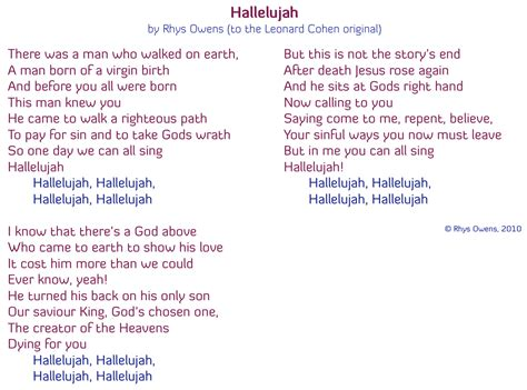 printable lyrics hallelujah hallelujah christmas lyrics