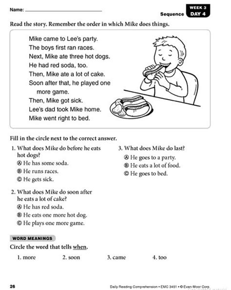 Reading Worksheets Grade 1 by Daily Reading Comprehension Grade 1