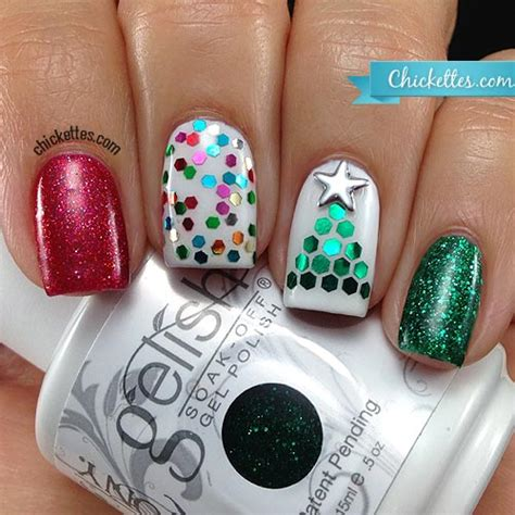 glequin christmas tree nail art chickettes soak off gel