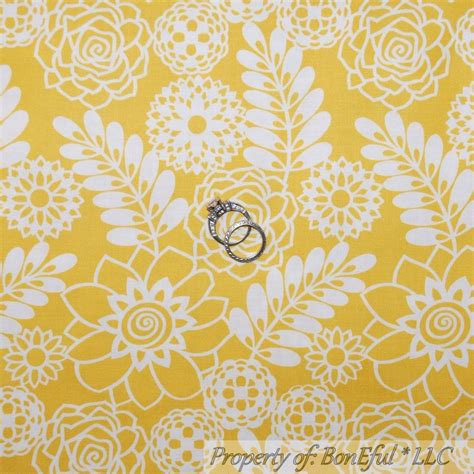 boneful fabric fq cotton quilt yellow white gold toile