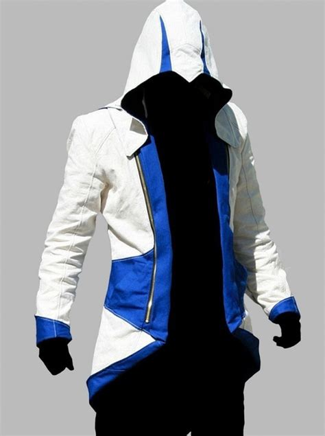 Levae Hodie White assassin s creed connor kenway blue and white hoodie