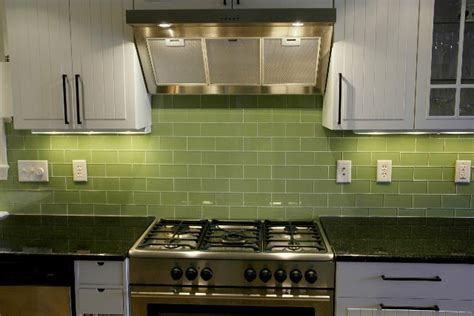 green glass backsplashes for kitchens green subway tile kitchen backsplash supreme glass tiles