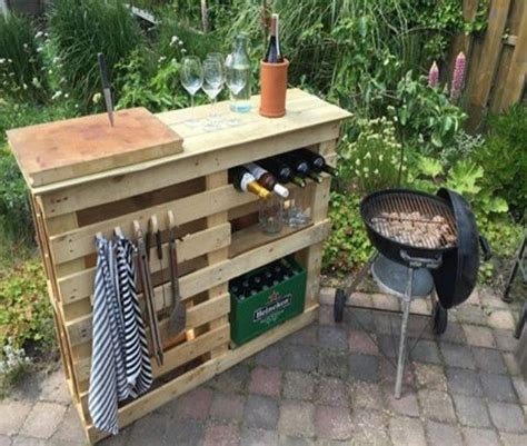 bbq tables outdoor furniture bbq side table made from 2 pallets boards