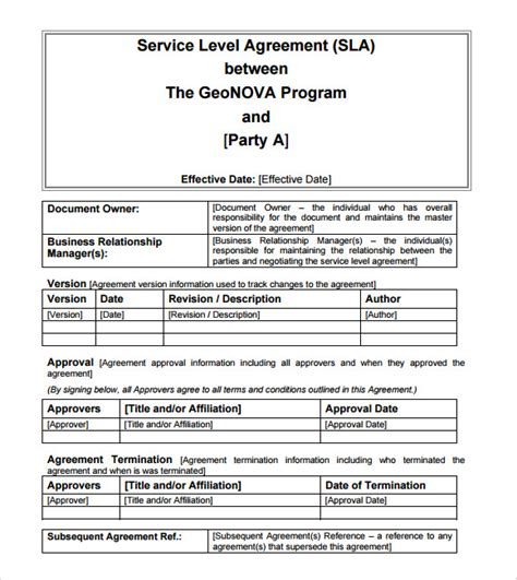 website service agreement template sle service level agreement 13 exle format