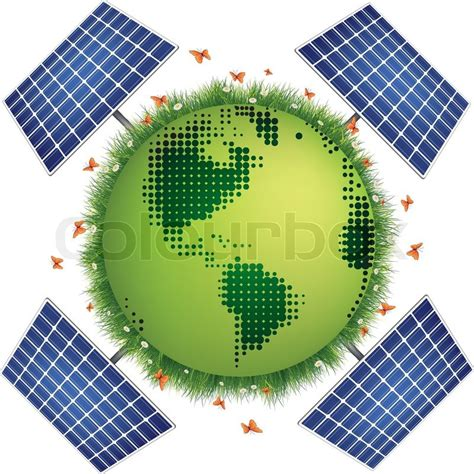 green planet with solar panels isolated on white