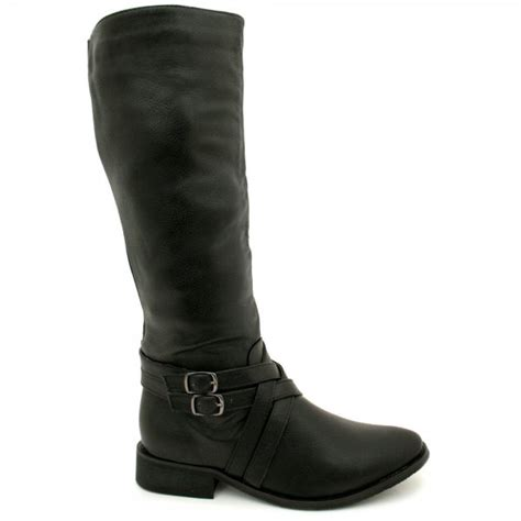 womens black leather style biker knee high stretch buckle