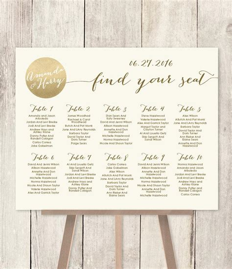 Wedding Seating Chart Sign Diy Gold Sparkle Wedding Sign Metallic Gold And Cream Find Your Find Your Seat Template