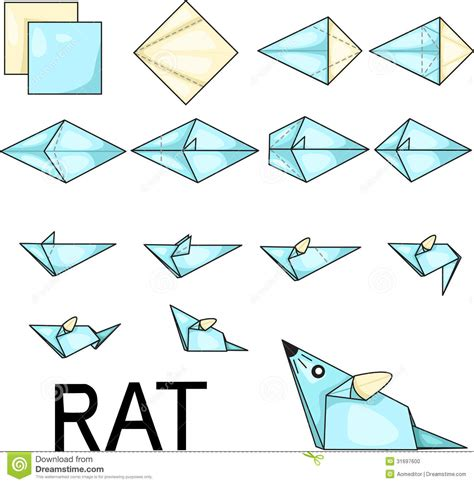 How To Make Paper Template - origami rat stock photo image 31697600