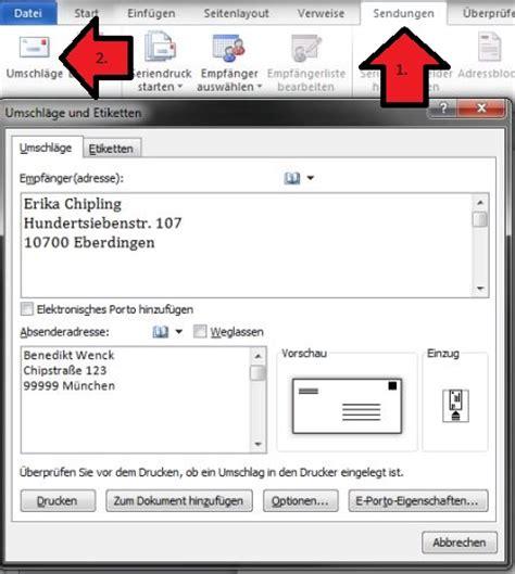 Vorlage Word Umschlag C5 Mit Word Briefumschl 228 Ge Bedrucken Chip