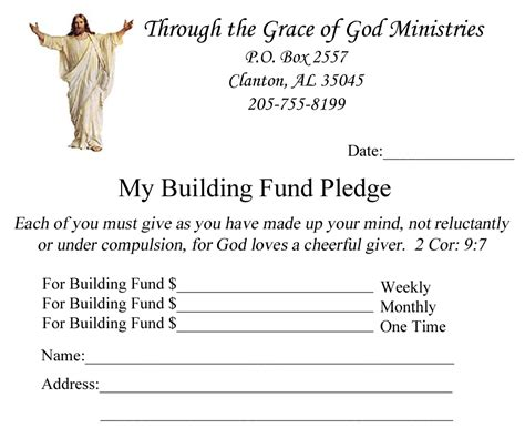 building fund pledge card template building fund pledge card template gallery template