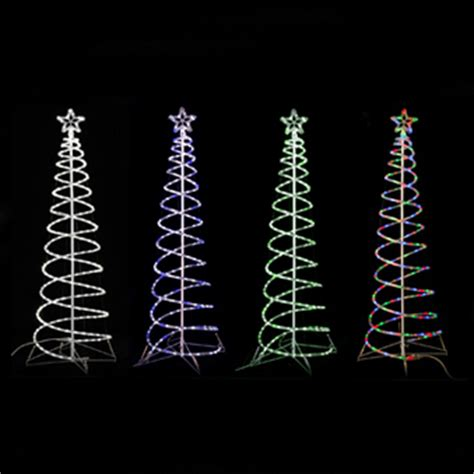 Spiral Tree Led - 6 twinkling led spiral rope tree lighted outdoor