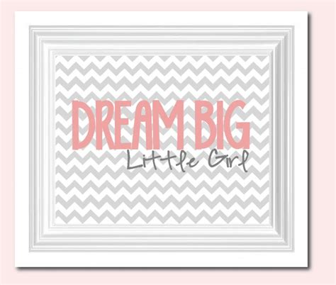 Dream Big Little Girl Chevron Nursery Decor Pink Grey Chevron Nursery Decor
