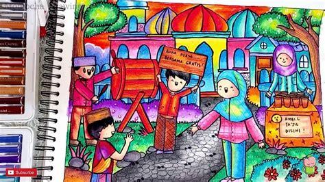 menggambar  mewarnai ramadhan buka puasa  masjid