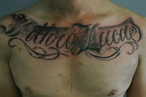 tattoo across chest 49 best images about chest pieces script lettering on