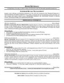 sle retail supervisor resume resume sles