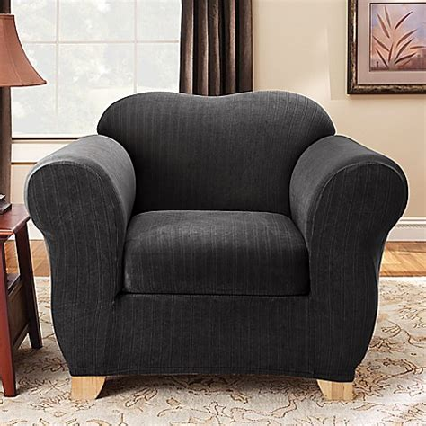 black chair slipcover buy sure fit 174 stretch pinstripe 2 piece chair slipcover in