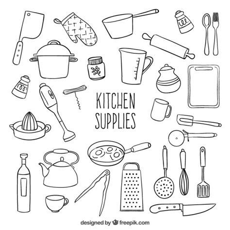 kitchen objects coloring pages utensilios de cocina esbozados descargar vectores gratis