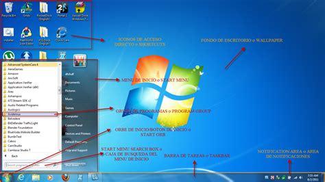 imagenes de windows 10 y sus partes escritorio de windows y sus partes