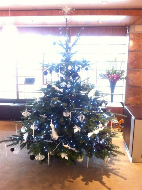 office christmas tree black and white flowers by flourish