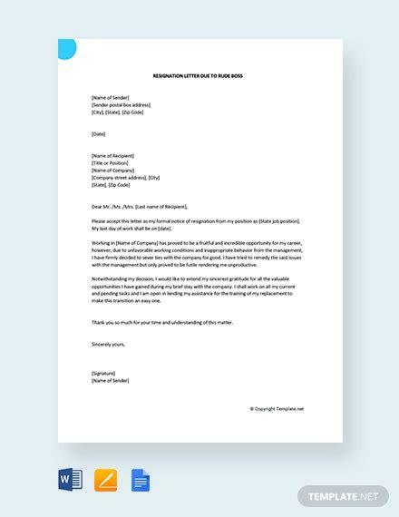 resignation letter templates google docs