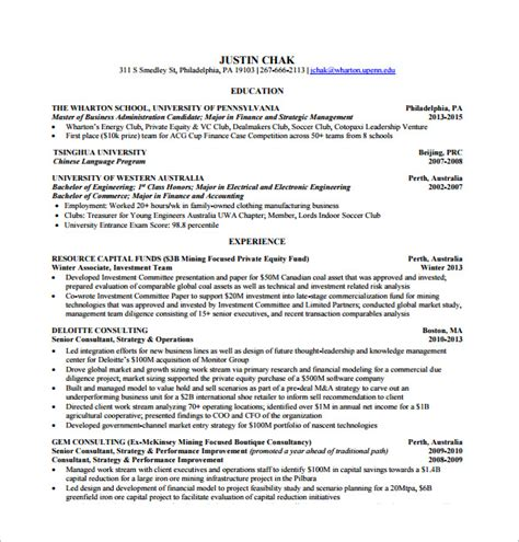 Wharton Resume Template resume template 42 free word excel pdf psd format