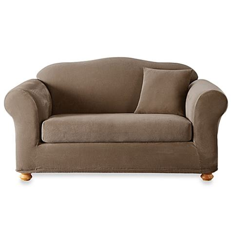 sure fit stretch sterling slipcover sure fit 174 stretch sterling taupe 2 piece sofa slipcover