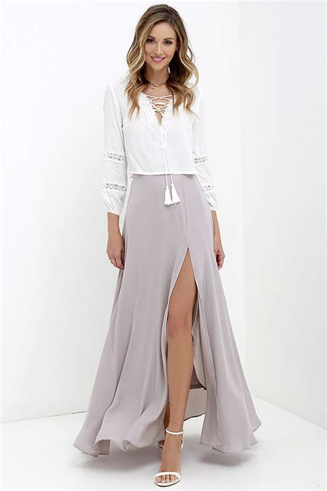 perfect slits lovely taupe maxi skirt high waisted skirt slit maxi