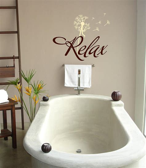 bathroom vinyl wall relax with dandelion bathroom vinyl lettering wall words