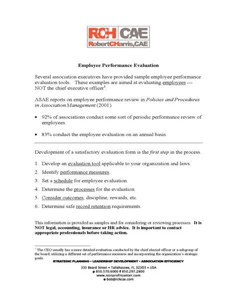 employee evaluation form sle free