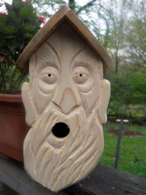 wood spirit carvings  nest birdhouse folk art wood