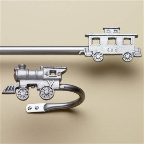 boys curtain rods train curtain rod and tie back hook caleb s bedroom