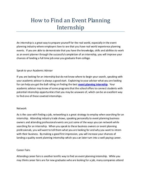 find an intern how to find an event planning internship