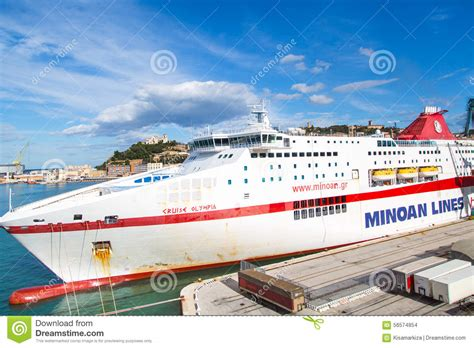old boat lines minoan lines ferry boat at port ancona editorial stock