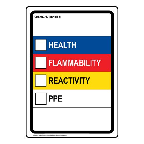 Chemical Identity Health Flammability Hazard Ppe Sign Hazchem 14705 Msds Label Template