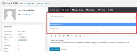 Sending An Email From Template Crm Email Templates