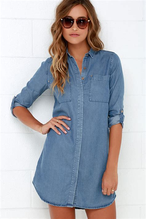 Blue Sweet Soft S M L Xl Dress 30396 chambray dress denim dress shift dress