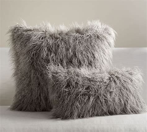mongolian faux fur pillow cover gray pottery barn
