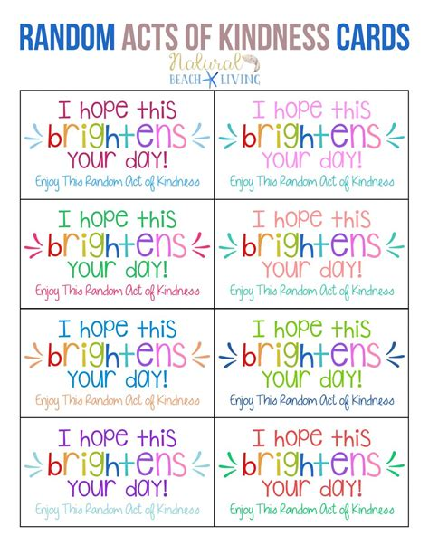 Random Acts Of Kindness Cards Templates by The Best Random Acts Of Kindness Printable Cards Free