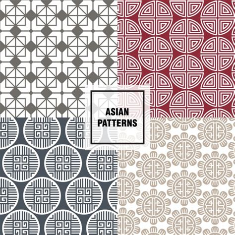 asian pattern ai red asian patterns vector free download