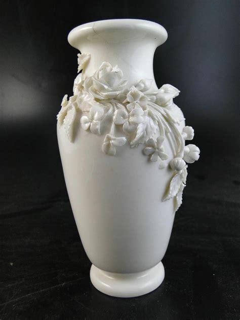 Belleek Vase by Antique Belleek Table Vase Applied Flower Porcelain