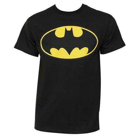 T Shirt Bat Black batman classic yellow bat logo black graphic shirt
