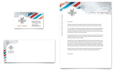 barbershop business card letterhead template design