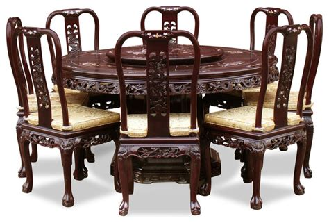Oriental Dining Room Sets by 60in Rosewood Queen Ann Pearl Inlay Motif Round Dining Table With 8 Chairs Asian Dining