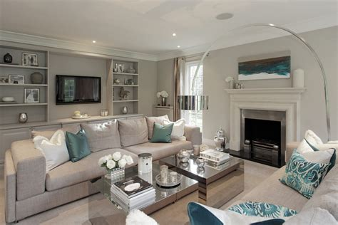 gray living room with teal accents living room
