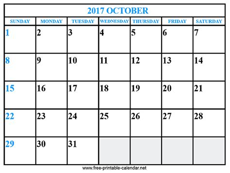 Calendar October 2017 Doc October 2017 Calendar Template 28 Images October 2017